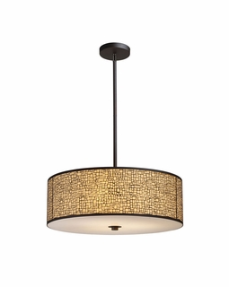 31047/5 Elk Modern Medina 5-Light Pendant In Aged Bronze With Amber Diffuser
