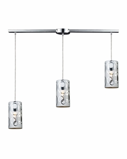 31076/3L ELK Lighting Chromia 3-Light Linear Pendant Fixture in Polished Chrome with Cylander Shade