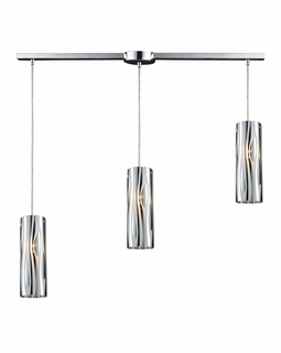 31078/3L ELK Lighting Chromia 3-Light Linear Pendant Fixture in Polished Chrome with Cylander Shade