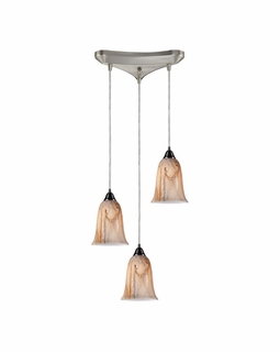 31138/3 ELK Lighting Granite 3-Light Triangular Pendant Fixture in Satin Nickel with Marbleized Amber Glass