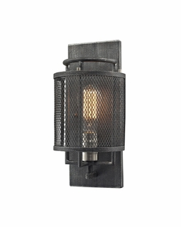 31235/1 ELK Lighting Slatington 1-Light Sconce in Brushed Nickel and Silvered Graphite with Metal Mesh Shade