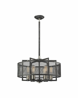 31238/6 Elk Restoration Slatington 6 Light Chandelier In Silvered Graphite And Brushed Nickel