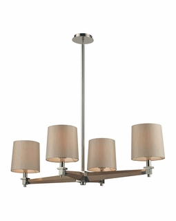 31336/4 Transitional Jorgenson 4 Light Chandelier In Polished Nickel And Taupe Wood