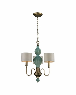 31363/3 Transitional Lilliana 3 Light Chandelier In Seafoam And Aged Silver