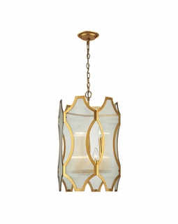 31467/3+3 Transitional Benicia 6 Light Pendant In Antique Gold Leaf