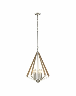 31474/5 ELK Lighting Madera 5-Light Pendant in Polished Nickel and Taupe