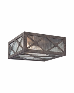 32121/2 ELK Lighting Radley 2-Light Flush Mount in Malted Rust with Clear Raindrop Glass Panels