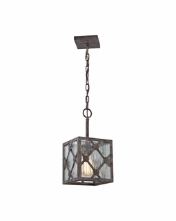 32122/1 ELK Lighting Radley 1-Light Mini Pendant in Malted Rust with Clear Raindrop Glass Panels
