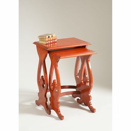 380039 Chelsea House Gilbert Nest Of Tables-Red Handpainted Poplar