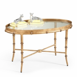 380040 Chelsea House Gold Bamboo Cocktail Table