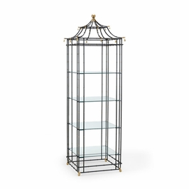 380054 Chelsea House Bamboo Etagere-Black With Gold Accents, Bamboo Design Glass Shelves