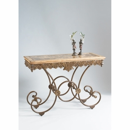 380074 Chelsea House Lyon Console-Brown Marble Top, Metal Base