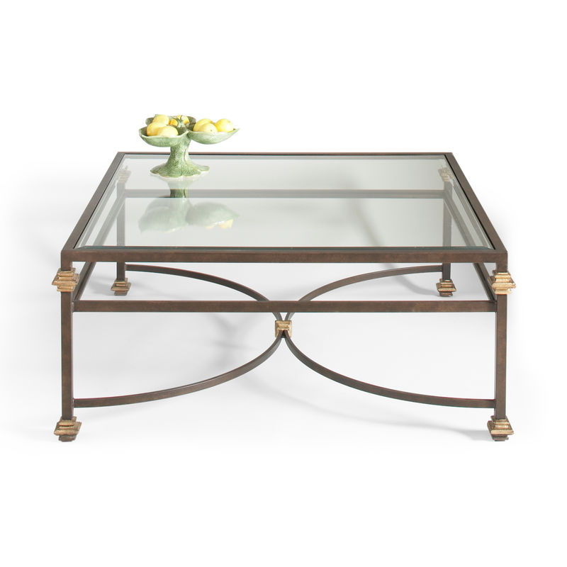 380088 Chelsea House Collar Square Coffee Table Bronze Finish With Gold  Accents Glass Top