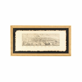 380170 Chelsea House City View-Naples-Hand Colored Engraving, Italy Floats On Black Ground With Gold Frame