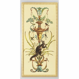 380250 Chelsea House Borghese Panel-Rt-Water Color On Silk Gold Frame