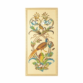 380252 Chelsea House 31-0007A Borghese Bird Panel-A-Water Color On Silk Gold Frame
