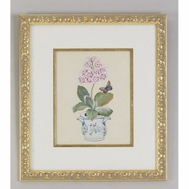 380259 Chelsea House Water Color On Silk Gold Frame And Fillet Pink Auricula