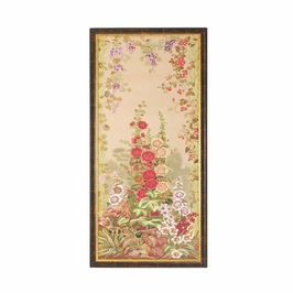 380267 Chelsea House Water Color On Silk Antique Gold And Brown Frame Hollyhocks-A