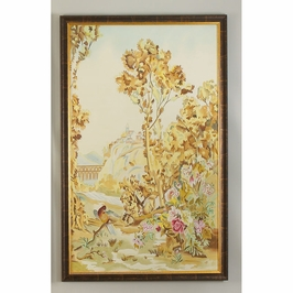 380270 Chelsea House Aubusson Panel - B-Water Color On Silk Wood Frame Antique Gold And Brown Frame