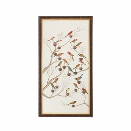 380274 Chelsea House Water Color On Silk Antique Gold And Brown Frame Small Aviary - B