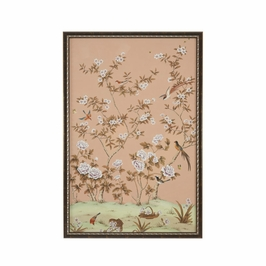 380281 Chelsea House Edgedale Panel Peach-A-Water Color On Silk Distressed Brown And Silver Frame