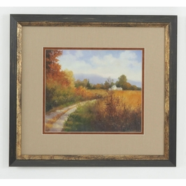 380492 Chelsea House Autumn Country Road-Lithograph Print Distressed Brown And Gold Frame