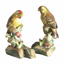 380692 Chelsea House Finches-Pair-Hand Painted Porcelain