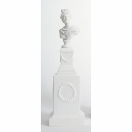 380845 Chelsea House Apollo Bust/Tall Pedestal-Hand Painted Ceramic Italian
