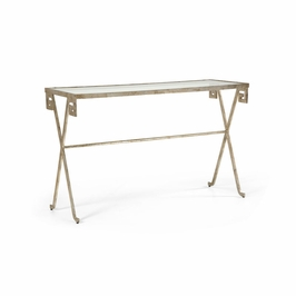 381349 Chelsea House Sloan Square Console-Silver Leaf On Iron Glass Top