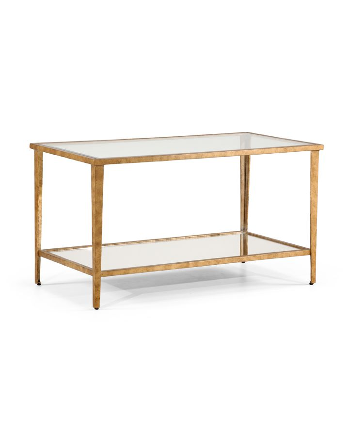 381354 Chelsea House Carson Cocktail Table Gold Antique Gold Leaf On Iron Glass Top And Shelf