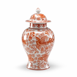 381427 Chelsea House Temple Jar - Pumpkin-Hand Decorated Porcelain