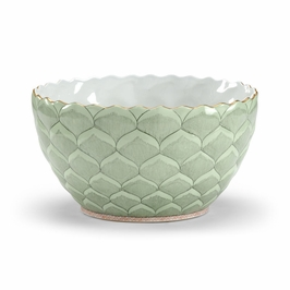 381731 Chelsea House Green Lotus Leaf Bowl-Hand Decorated Porcelain