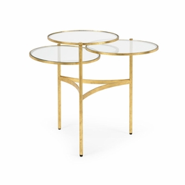 381986 Chelsea House Bristol Coffee Table - Gold-Hand Made And Finished Iron Glass Tops