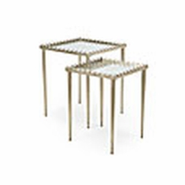 381998 Chelsea House Nottinghill Nest Of Tables-Antique Silver Finish Iron