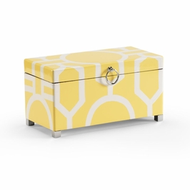 382068 Chelsea House Yellow Box (Large)-Hinged Lid Hand Decorated Wood