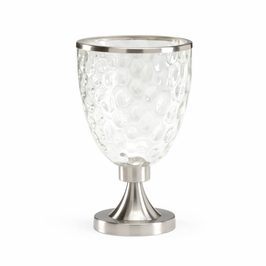 382121 Chelsea House Candleholder-Dimpled Glass Shade Brushed Nickel Finish