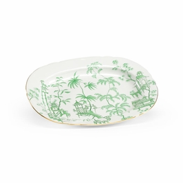 382144 Chelsea House Chinoisere Platter-Hand Painted Green Porcelain