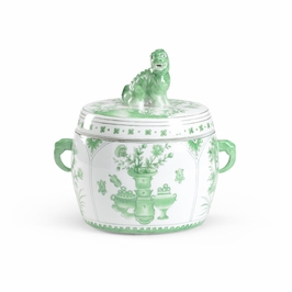 382150 Chelsea House Covered Jar-Hand Painted - Green Porcelain