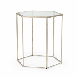 382172 Chelsea House Riggins Side Table-Antique Silver Finish Iron With Glass Top