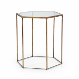 382173 Chelsea House Riggins Side Table-Antique Bronze Finish Iron With Glass Top