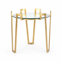 382179 Chelsea House Cofer Side Table-Antique Gold Finish Iron With Glass Top