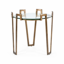 382181 Chelsea House Cofer Side Table-Antique Bronze Finish Iron With Glass Top