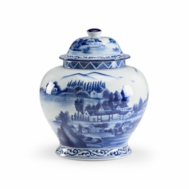 382205 Chelsea House Scenic Covered Jar-Hand Decorated Blue/White Porcelain