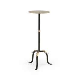 382215 Chelsea House Acanthus Side Table-Black Wrought Iron Antique Silver Leaves