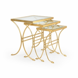 382220 Chelsea House Lifton Nest Of Tables (3)-Iron Set Of Three Antique Gold Leaf Finish
