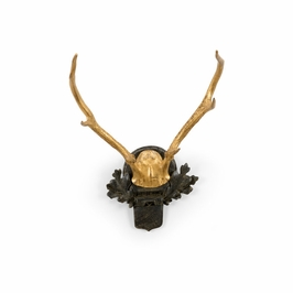 382319 Chelsea House Small Antlers-Gold Leaf-Dark Wood Tone Mounting