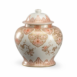 382374 Chelsea House Nanking Jar-Rose And White With Metallic Gold