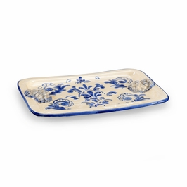 382433 Chelsea House Lions Head Tray - Blue-Ceramic