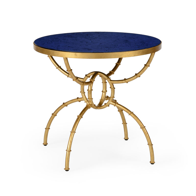 Ordinaire 382485 Chelsea House Bamboo Side Table   Lapis Antique Gold Finish   Iron