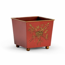 382517 Chelsea House French Cachepot - Red-Iron